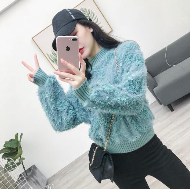 主役級デザイン韓国ファッション 一目惚れ! モヘアニットトップス セーター ファーニット ふわふわ ゆるファーニット