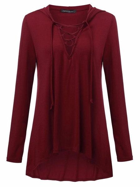 2017ファッションS-5XLプラスロングスリーブVネックプランジパーカールーズブラウストップスクラブシャツ