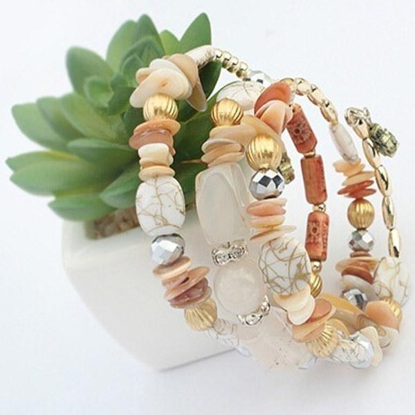 女性クリア宝石のラインストーンクリスタル多層ビーズチェーンゴールド充填樹脂瑪瑙のブレスレットバングル