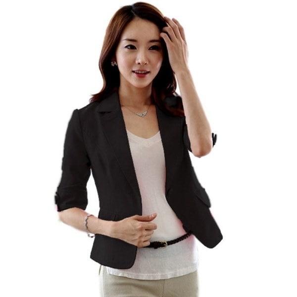 Womens 3/4 Sleeve Blazerワンボタンスーツコートアウトレットビジネストップス
