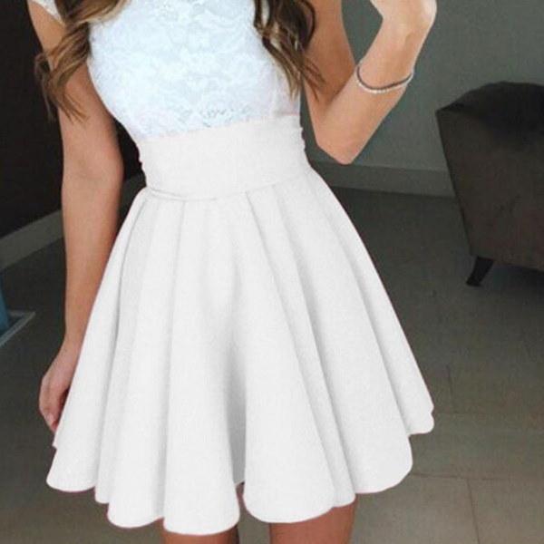 ファッション女性のストレッチハイウエストスケーターフレアプリーツパーティーミニスカートドレス