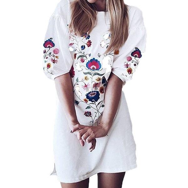 ヴィンテージレディース半袖花柄刺繍カジュアルルーズトップスシャツミニワンピース