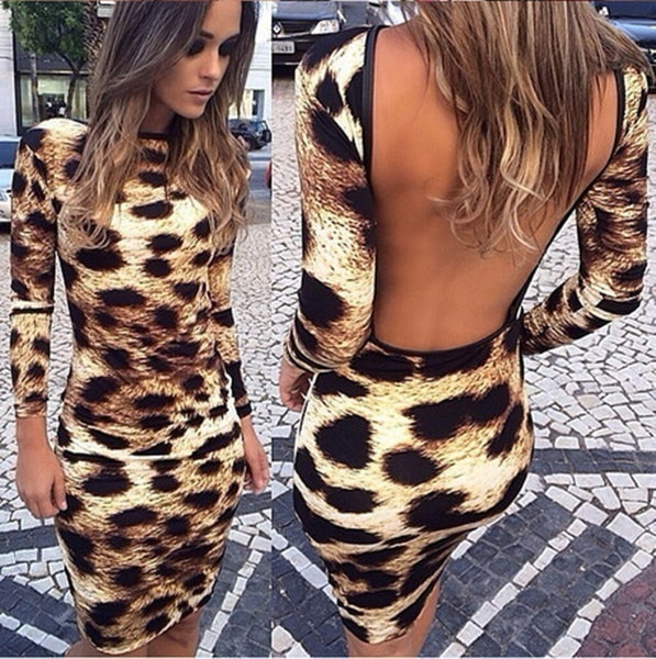 Fashion Autumn Women s Leopard Print Backless Bodycon Casual Round Neck Long Sleeve Package Hip Midi