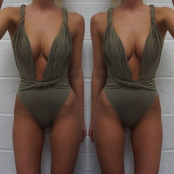 セクシーな女性ビキニ包帯ハイウエスト水着ワンピースMonokini Beach Swimwear