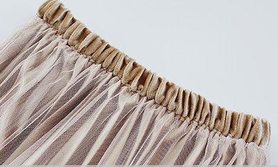 チュールの透け感が大人可愛いプリーツスカート ミモレ丈 ウエストゴム ベロア きれいめ 上品 フェミニン 春 0037