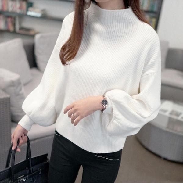 冬の女性のセーターターメレルセータールーズシャツランタンスリーブバットスリーブセーター
