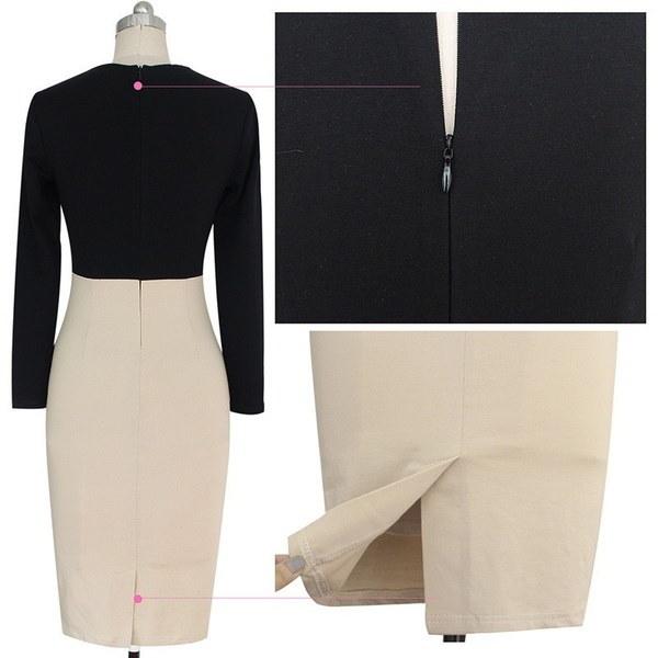 新しい女性のエレガントなVネックカラーブロックハイウエストスリミングコットンチュニック着用オフィスシースピーを動作させる