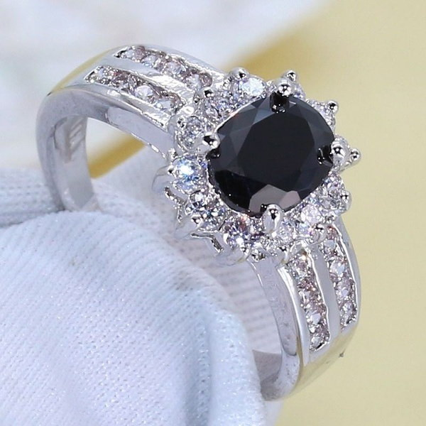 スパークルジュエリーギフト925スターリングシルバーブラックトパーズメンズ結婚式の婚約指輪