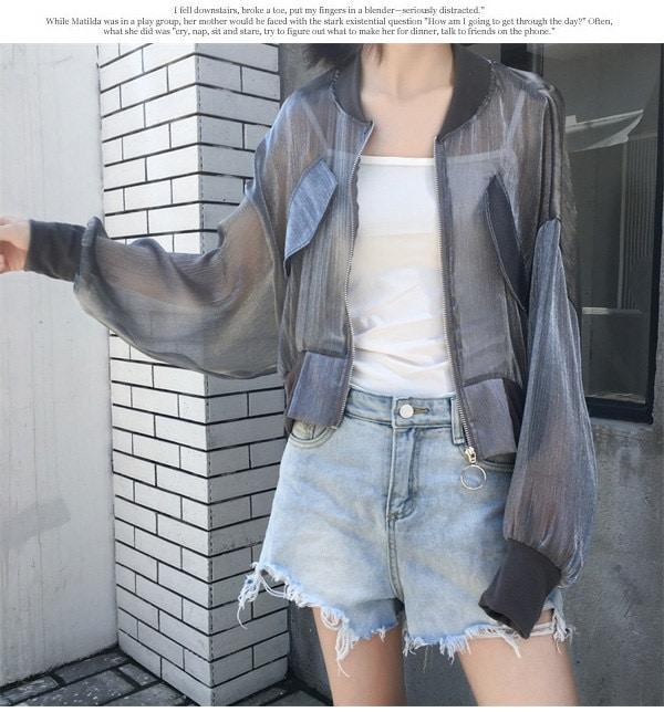 ブルゾン ジャケット ノーカラージャケット 透け感 紫外線対策 日焼け防止 薄手 UVカット  大人カッコイイ ゆったり 春夏 新作
