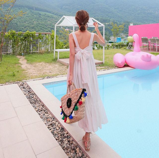 ドィトトゥイムリボン紐ナシマキシロング女神ワンピースリゾートルックバカンスルックデイリールックkorea women fashion style