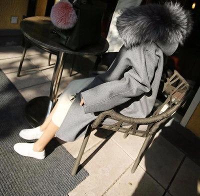 韓国2017冬の新しい大きな毛皮の襟長い毛のジャケットの女性韓国の厚い厚いウールのコートチェスターコート レディース★ロング丈 コート キルト 長袖