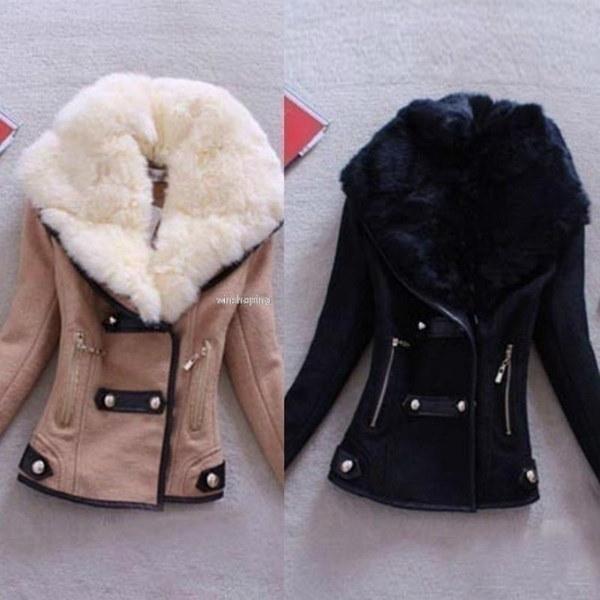 2016新しいファッション女性の冬の暖かいスリムウールブレザーアウターFaux Fur Collar Coat Jacket