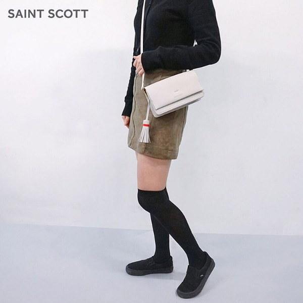 【SAINT SCOTT】【キーナミニクロスバッグ】BLACK EDITION 本革 クロスバッグ クロスボディバッグ ショルダーバッグ ミニバッグ スクェアバッグzgy1195
