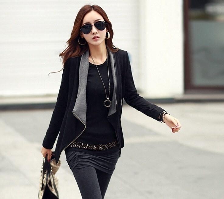 すべての一致レジャーカラーサイドジッパージャケット新しいファッションの女性のジャケット長袖フォーマルコートファッション韓国語バージョン