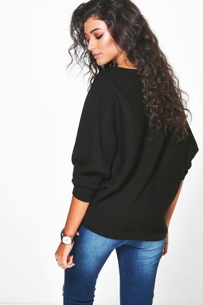 女性ファッションセクシーなブラックボトムアッププルオーバートップスカジュアルロングスリーブルーズニットブラウスTシャツ