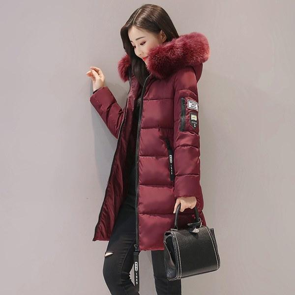 2017新しい冬のジャケット女性フード付きの厚いコート女性のファッションウォームダウンダウンコットンパッディングロング