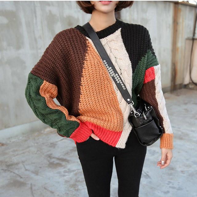 配色ユニークカラープレッツェルニットティー、デイリールックkorea women fashion style