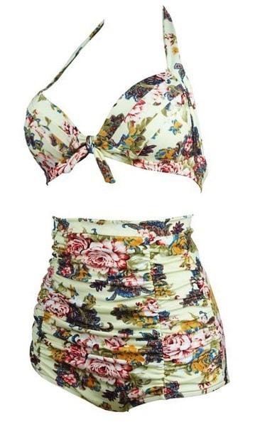 夏の女性プラスサイズの水着プリント花ハイウエスト水着スウィートホルタービキニセットビック