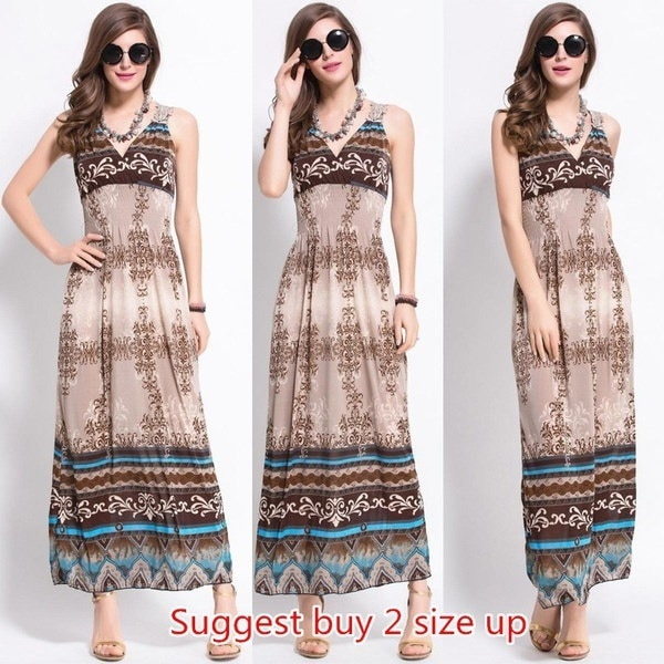 Women Summer Style Bohemian Wind Long Dress Beach Holiday Sundress Sleeveless Vintage Retro Casual P