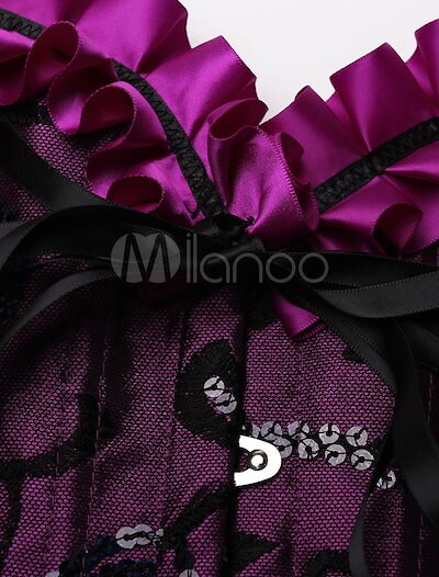 Purple Corset Ruffles Lace Up Polyester Bustier