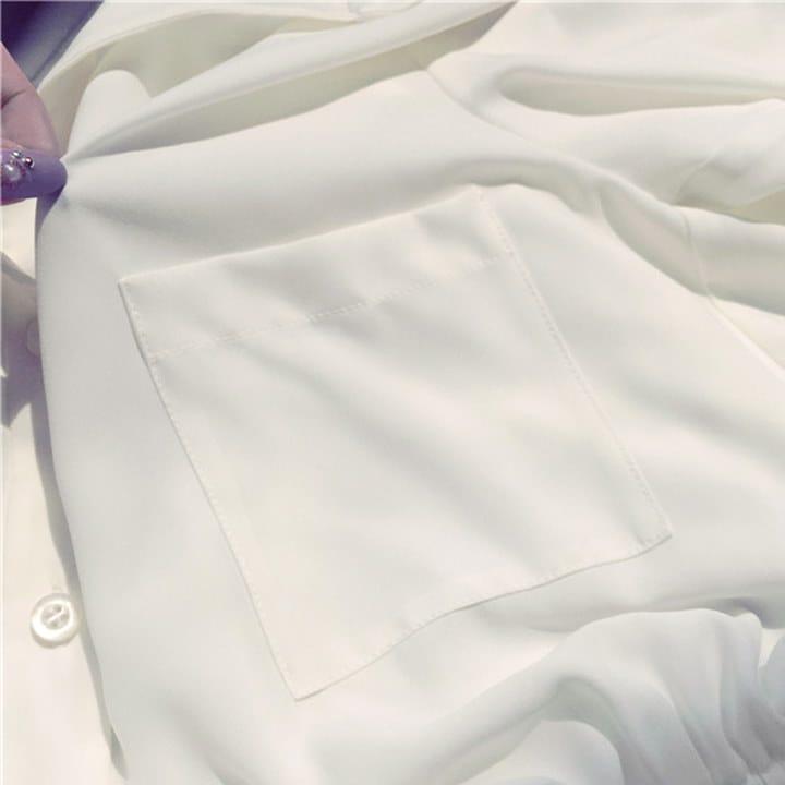【即納】 【送料無料】 シャツワンピ シフォンワンピ ワンピース Aライン フレア 無地 七分袖 【秋冬】