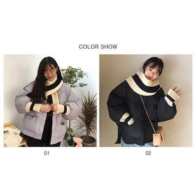レディース中綿コート二点セットマフラー厚手中綿入りファスナーポケット付きリブ編みスナップボタン冬コート暖かい冬新作アウター