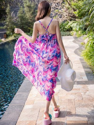 Multicolor Print Straps Cross Back Chiffon Dress for Women