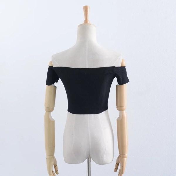 2017夏の新ファッションセクシーな女性ショルダーソリッドカラー半袖シャツALIオフ