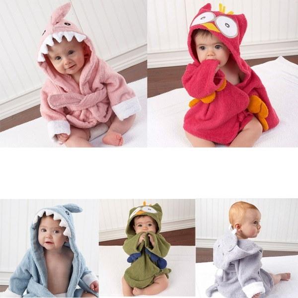 かわいい動物の漫画の赤ん坊の子供のフード付きバスローブ幼児の少女の女の子のバスタオル