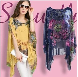 ブラウスファッションプリントパターンシフォン女性ブラウスバットスリーブシャツトップ4色blusa feminina kimo