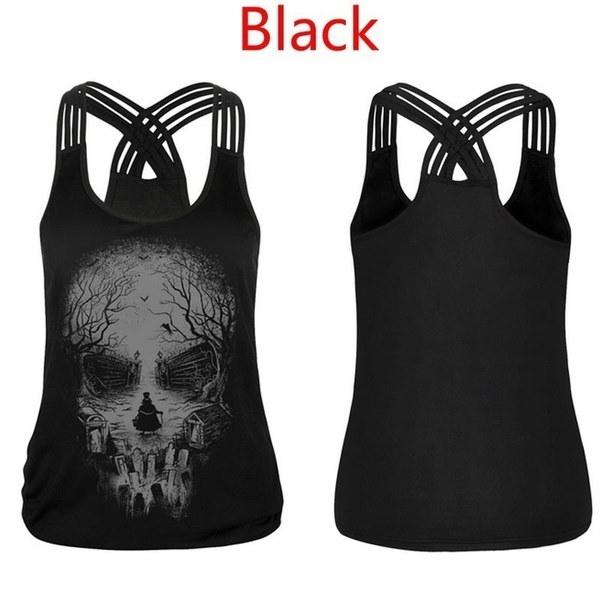 Fashion Cotton Skull Print T-shirt  Bandage Cross Sleeveless Sexy Tank Top (7 Colors)