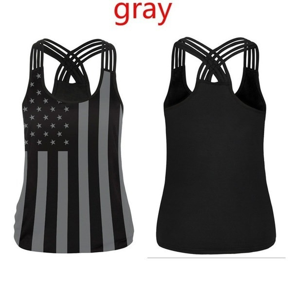 Fashion Cotton Skull Print T-shirt  Bandage Cross Sleeveless Sexy Tank Top (7 Colors)