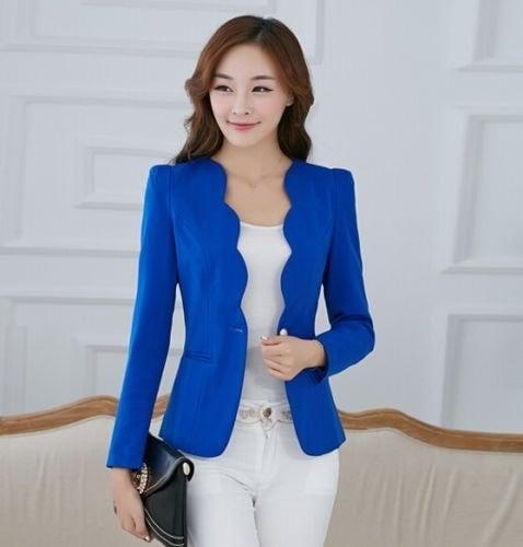 女性のワンボタンカジュアルスリムビジネスブレザースーツジャケットコートアウター