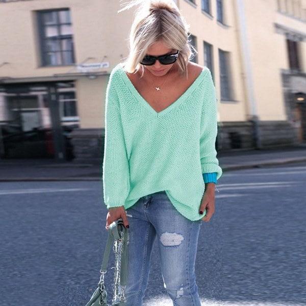 ファッション女性のセーターカジュアルルーズニットプルオーバーロングスリーブVネック秋の女性のトップス女性のスウェー