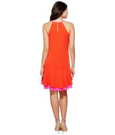 ヴィンスカムート レディース ワンピース トップス Sleeveless Halter Color Blocked Ruffle Hem Dress