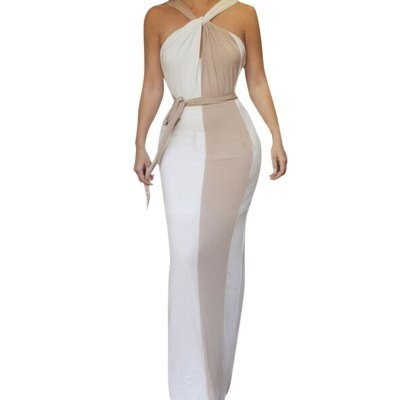 Stylish V-Neck Sleeveless Color Block Bodycon Women s Dress