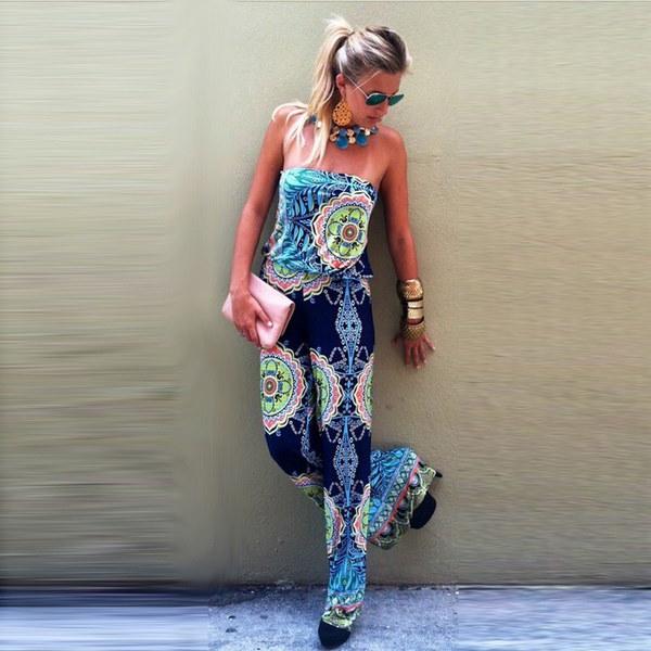 女性ファッションBohoセクシーな花プリントPlaysuit Bandeauパラッツォロングパンツジャンプスーツ