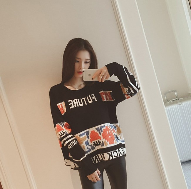 プルオーバー秋冬 BF風セーター ♥プリント ニットレディース ラウンドネック スクール風 スイート ゆったりした 美しいニットで楽ちんお洒落に♥キュート 韓国ファッション 着痩せ