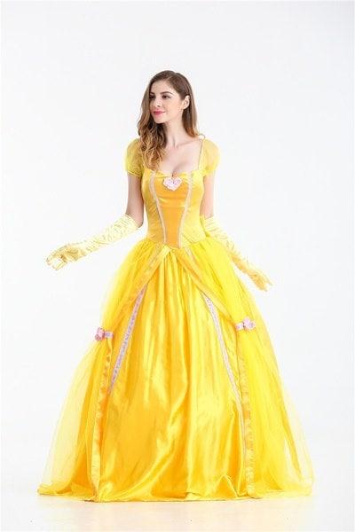 美人と獣の女の子ベルプリンセスのコスチュームハロウィンパーティーのファンシードレスと手袋