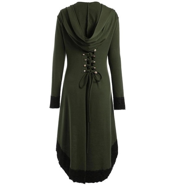 2017女性ファッションコスプレフード付きジャケット中世Steampunkヴィンテージテールコートレースアッププラスサイズフード