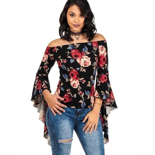 新しい女性のファッションオフショルダーロングスリーブトップセクシーなトップブラウスのTシャツ夏のシャツトップス