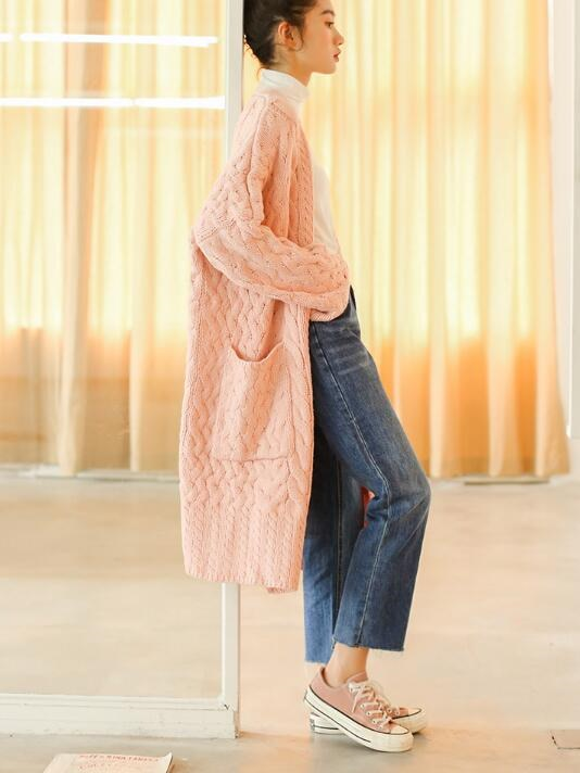 [55555SHOP]欧米風詰め襟盤花長めニットセーター ハイネックセーター メリヤス かわいい ベーシック 大人気