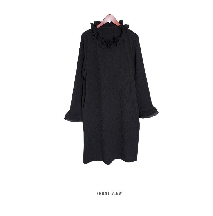 『韓国製』SELLISHOP Lady ruffle ワンピース「大きいサイズ 大人 韓国 ファッション・結婚式・フォマール 黒 フレア 30代 40代 50代 スレンダー・Aライン,シャツ・上品・ロ