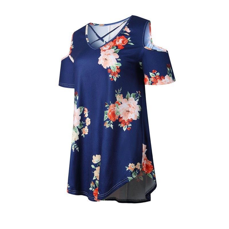 2017年夏の花柄プリントTシャツカットアウトコールドショルダートップブラウス