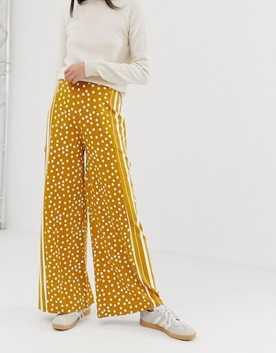 エイソス レディース カジュアルパンツ ボトムス ASOS DESIGN wide leg pants in spot and stripe print