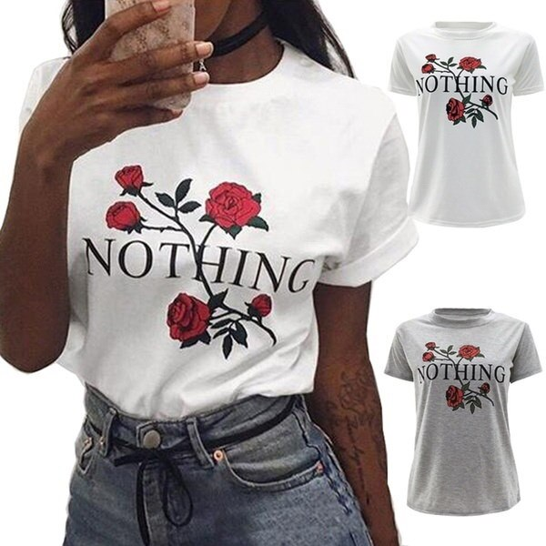 Women Casual O-Neck Short Sleeve Floral Basic Tee T-Shirt