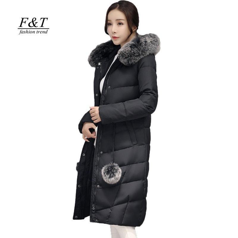 冬のジャケットの女性の90%ダックダウンレアルフォックス毛皮の襟ミディアムロングフード付きパーカ厚スリムスノー生き抜く女性オーバーコート