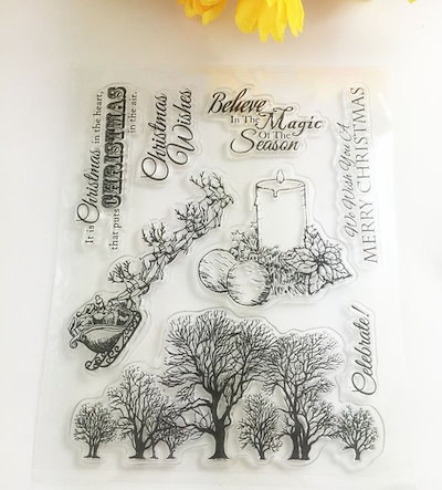 Christmas tree Merry Christmas Silicone Clear Rubber Stamp Sheet Cling Scrapbooking DIY