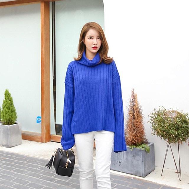 パクピットヨプトゥイムニットポーラティーアイボリー・グレー・ブルー・デイリールックデイリーバックkorea women fashion style