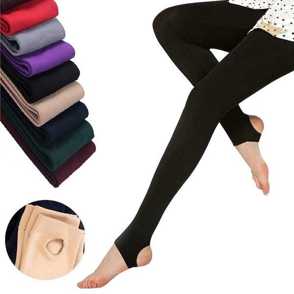 12色女性のソフトブラシストレッチフリース裏地付き厚手タイツ暖かい冬の春のパンツウォームレッグ